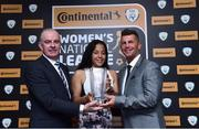 9 November 2018; Tom Dennigan, left, from Continental Tyres and Republic of Ireland manager Colin Bell present Rianna Jarrett from Wexford Youths with her Player of the Year award during the Continental Tyres Women's National League Awards at the Ballsbridge Hotel in Dublin. Photo by Matt Browne/Sportsfile