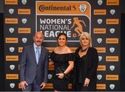 9 November 2018; Megan Smyth-Lynch, centre, of Peamount United with her grandad Pat Smith and mother Andrea Smith-Lynch upon arrival at the Continental Tyres Women's National League Awards at the Ballsbridge Hotel in Dublin. Photo by Piaras Ó Mídheach/Sportsfile