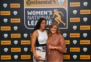 9 November 2018; Rianna Jarrett from Wexford Youths, left, and Emma Donoghue, Peamount United, upon arrival at the Continental Tyres Women's National League Awards at the Ballsbridge Hotel in Dublin. Photo by Piaras Ó Mídheach/Sportsfile