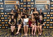 9 November 2018; The Continental Tyres team of the year, back row, from left, Megan Smith-Lynch from Peamount United, Louise Corrigan from Peamount United, Lauren Dwyer from Wexford Youths, Niamh Farrelly from Peamount United, Kylie Murphy from Wexford Youths, Seana Cooke from Shelbourne, front row, from left, Aislinn Meaney from Galway Women's, Erica Turner, Young player of the year, from UCD Waves, Rianna Jarrett, Player of the year, from Wexford Youths, Amber Barrett, Top Goalscorer, from Peamount United, and Eabha O'Mahony, from Cork City, during the Continental Tyres Women's National League Awards at Ballsbridge Hotel, in Dublin. Photo by Matt Browne/Sportsfile