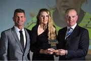 9 November 2018; Republic of Ireland manager Colin Bell, left, and Tom Dennigan from Continental Tyres present Erica Turner from Peamount United with her Team of the year trophy during the Continental Tyres Women's National League Awards at Ballsbridge Hotel, in Dublin. Photo by Matt Browne/Sportsfile