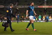 10 November 2018; Robbie Henshaw of Ireland leaves the pitch after picking up an injury during the warm up prior to the Guinness Series International match between Ireland and Argentina at the Aviva Stadium in Dublin. Photo by Ramsey Cardy/Sportsfile
