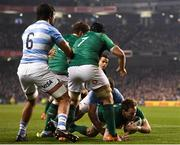 10 November 2018; Kieran Marmion of Ireland dives over to score his side's first try during the Guinness Series International match between Ireland and Argentina at the Aviva Stadium in Dublin. Photo by Ramsey Cardy/Sportsfile