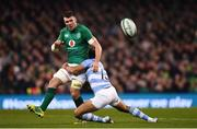 10 November 2018; Peter O'Mahony of Ireland is tackled by Matias Orlando of Argentina during the Guinness Series International match between Ireland and Argentina at the Aviva Stadium in Dublin. Photo by Ramsey Cardy/Sportsfile