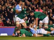 10 November 2018; Kieran Marmion, centre, of Ireland celebrates scoring his side's first try alongside teammates Sean O'Brien, left, and Iain Henderson during the Guinness Series International match between Ireland and Argentina at the Aviva Stadium in Dublin. Photo by Brendan Moran/Sportsfile