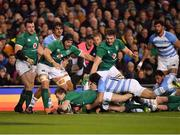 10 November 2018; Kieran Marmion of Ireland dives over to score his side's first try during the Guinness Series International match between Ireland and Argentina at the Aviva Stadium in Dublin. Photo by Brendan Moran/Sportsfile