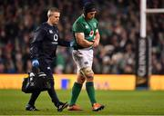 10 November 2018; Sean O'Brien of Ireland leaves the pitch with an injury with team doctor Ciaran Cosgrave during the Guinness Series International match between Ireland and Argentina at the Aviva Stadium in Dublin. Photo by Brendan Moran/Sportsfile