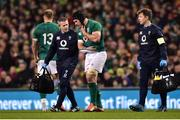 10 November 2018; Sean O'Brien of Ireland leaves the pitch with team doctor Ciaran Cosgrave after picking up an injury during the Guinness Series International match between Ireland and Argentina at the Aviva Stadium in Dublin. Photo by Matt Browne/Sportsfile