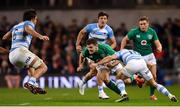 10 November 2018; Jacob Stockdale of Ireland in action against Pablo Matera, left, and Nicholas Sanchez of Argentina during the Guinness Series International match between Ireland and Argentina at the Aviva Stadium in Dublin. Photo by Ramsey Cardy/Sportsfile
