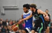 10 November 2018; Mike Daid of Belfast Star in action against Darragh O'Hanlon of Garvey's Tralee Warriors during the Basketball Ireland Men's Superleague match between Garvey's Tralee Warriors and Belfast Star at Tralee Sports Complex in Tralee, Co Kerry. Photo by Piaras Ó Mídheach/Sportsfile