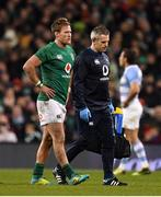 10 November 2018; Kieran Marmion of Ireland leaves the pitch with team doctor Ciaran Cosgrave after picking up an injury during the Guinness Series International match between Ireland and Argentina at the Aviva Stadium in Dublin. Photo by Brendan Moran/Sportsfile