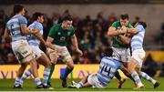 10 November 2018; Jacob Stockdale of Ireland is tackled by Bautista Delguy, left, and Nicholas Sanchez of Argentina during the Guinness Series International match between Ireland and Argentina at the Aviva Stadium in Dublin. Photo by Ramsey Cardy/Sportsfile
