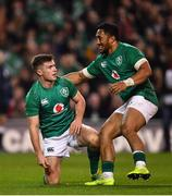 10 November 2018; Luke McGrath of Ireland celebrates with team-mate Bundee Aki, right, after scoring his side's third tryduring the Guinness Series International match between Ireland and Argentina at the Aviva Stadium in Dublin. Photo by Ramsey Cardy/Sportsfile