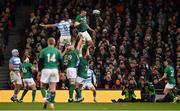 10 November 2018; Peter O'Mahony of Ireland wins an Argentinian line-out during the Guinness Series International match between Ireland and Argentina at the Aviva Stadium in Dublin. Photo by Brendan Moran/Sportsfile