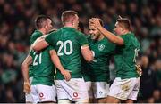 10 November 2018; Luke McGrath of Ireland celebrates with team-mates after scoring his side's third try during the Guinness Series International match between Ireland and Argentina at the Aviva Stadium in Dublin. Photo by Ramsey Cardy/Sportsfile