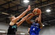 10 November 2018; Mike Daid of Belfast Star in action against Janis Dumbers of Garvey's Tralee Warriors during the Basketball Ireland Men's Superleague match between Garvey's Tralee Warriors and Belfast Star at Tralee Sports Complex in Tralee, Co Kerry. Photo by Piaras Ó Mídheach/Sportsfile