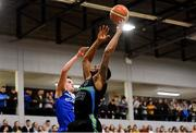 10 November 2018; Jordan Evans of Garvey's Tralee Warriors in action against Conor Quinn of Belfast Star during the Basketball Ireland Men's Superleague match between Garvey's Tralee Warriors and Belfast Star at Tralee Sports Complex in Tralee, Co Kerry. Photo by Piaras Ó Mídheach/Sportsfile