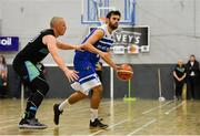 10 November 2018; Sergio Vidal Baldovi of Belfast Star in action against Kieran Donaghy of Garvey's Tralee Warriors during the Basketball Ireland Men's Superleague match between Garvey's Tralee Warriors and Belfast Star at Tralee Sports Complex in Tralee, Co Kerry. Photo by Piaras Ó Mídheach/Sportsfile