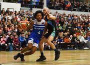 10 November 2018; Mike Daid of Belfast Star in action against Paul Dick of Garvey's Tralee Warriors during the Basketball Ireland Men's Superleague match between Garvey's Tralee Warriors and Belfast Star at Tralee Sports Complex in Tralee, Co Kerry. Photo by Piaras Ó Mídheach/Sportsfile