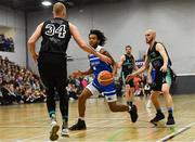 10 November 2018; Mike Daid of Belfast Star in action against Janis Dumbers, left, and Paul Dick of Garvey's Tralee Warriors during the Basketball Ireland Men's Superleague match between Garvey's Tralee Warriors and Belfast Star at Tralee Sports Complex in Tralee, Co Kerry. Photo by Piaras Ó Mídheach/Sportsfile