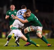 10 November 2018; Emiliano Boffelli of Argentina is tackled by Luke McGrath, left, and Dan Leavy of Ireland during the Guinness Series International match between Ireland and Argentina at the Aviva Stadium in Dublin. Photo by Ramsey Cardy/Sportsfile