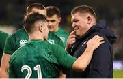 10 November 2018; Luke McGrath of Ireland checks on the welfare of team-mate Tadhg Furlong after the Guinness Series International match between Ireland and Argentina at the Aviva Stadium in Dublin. Photo by Brendan Moran/Sportsfile