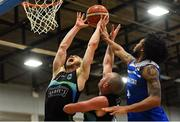 10 November 2018; Paul Dick of Garvey's Tralee Warriors, supported by team mate Kieran Donaghy, centre, in action against Mike Daid of Belfast Star during the Basketball Ireland Men's Superleague match between Garvey's Tralee Warriors and Belfast Star at Tralee Sports Complex in Tralee, Co Kerry. Photo by Piaras Ó Mídheach/Sportsfile