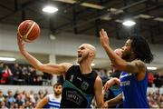 10 November 2018; Paul Dick of Garvey's Tralee Warriors in action against Mike Daid of Belfast Star during the Basketball Ireland Men's Superleague match between Garvey's Tralee Warriors and Belfast Star at Tralee Sports Complex in Tralee, Co Kerry. Photo by Piaras Ó Mídheach/Sportsfile