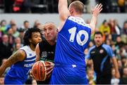 10 November 2018; Kieran Donaghy of Garvey's Tralee Warriors in action against Conor Johnston, 10, and Mike Daid of Belfast Star during the Basketball Ireland Men's Superleague match between Garvey's Tralee Warriors and Belfast Star at Tralee Sports Complex in Tralee, Co Kerry. Photo by Piaras Ó Mídheach/Sportsfile