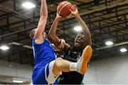 10 November 2018; Jordan Evans of Garvey's Tralee Warriors in action against Conor Johnston of Belfast Star during the Basketball Ireland Men's Superleague match between Garvey's Tralee Warriors and Belfast Star at Tralee Sports Complex in Tralee, Co Kerry. Photo by Piaras Ó Mídheach/Sportsfile