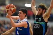 10 November 2018; CJ Fulton of Belfast Star in action against Darragh O'Hanlon of Garvey's Tralee Warriors during the Basketball Ireland Men's Superleague match between Garvey's Tralee Warriors and Belfast Star at Tralee Sports Complex in Tralee, Co Kerry. Photo by Piaras Ó Mídheach/Sportsfile