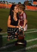 11 November 2018; Leona McCarthy with her son Jamie after the Wild Geese Cup match between Galway and Kilkenny at Spotless Stadium in Sydney, Australia. Photo by Ray McManus/Sportsfile