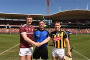 11 November 2018; Joe Canning of Galway, referee James Owens and Richie Hogan of Kilkenny before the Wild Geese Cup match between Galway and Kilkenny at Spotless Stadium in Sydney, Australia. Photo by Ray McManus/Sportsfile
