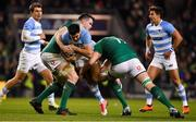 10 November 2018; Jeronimo de la Fuente of Argentina is tackled by James Ryan, left, and Devin Toner of Ireland during the Guinness Series International match between Ireland and Argentina at the Aviva Stadium in Dublin. Photo by Brendan Moran/Sportsfile