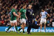 10 November 2018; Kieran Marmion of Ireland leaves the pitch with team doctor Dr. Ciaran Cosgrave during the Guinness Series International match between Ireland and Argentina at the Aviva Stadium in Dublin. Photo by Brendan Moran/Sportsfile