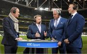 10 November 2018; RTE Presenter Daire O'Brien, left, with analysts Eddie O'Sullivan, Brent Pope and Stephen Ferris, right, prior to the Guinness Series International match between Ireland and Argentina at the Aviva Stadium in Dublin. Photo by Brendan Moran/Sportsfile