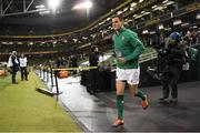 10 November 2018; Jonathan Sexton of Ireland runs onto the pitch prior to the Guinness Series International match between Ireland and Argentina at the Aviva Stadium in Dublin. Photo by Brendan Moran/Sportsfile