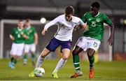 8 November 2018; Jensen Weir of England in action against Timi Sobowale of Republic of Ireland during the U17 International Friendly match between Republic of Ireland and England at Tallaght Stadium in Tallaght, Dublin. Photo by Brendan Moran/Sportsfile