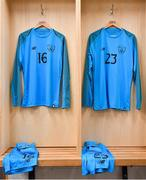 11 November 2018; The jerseys of Jimmy Corcoran, left, and Harry Halwax of Republic of Ireland prior to the U17 International Friendly match between Republic of Ireland and Czech Republic at Tallaght Stadium in Tallaght, Dublin. Photo by Seb Daly/Sportsfile