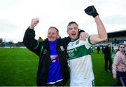11 November 2018; Kieran Lillis of Portlaoise celebrates with Portlaoise supporter Seamie Smith following their side's victory in the AIB Leinster GAA Football Senior Club Championship quarter-final match between Moorefield and Portlaoise at St Conleth's Park in Newbridge, Co. Kildare. Photo by David Fitzgerald/Sportsfile
