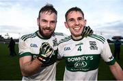 11 November 2018; Colin Finn, left, and Chris Finn celebrate following their side's victory in the AIB Leinster GAA Football Senior Club Championship quarter-final match between Moorefield and Portlaoise at St Conleth's Park in Newbridge, Co. Kildare. Photo by David Fitzgerald/Sportsfile