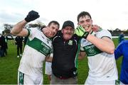 11 November 2018; Portlaoise kitman Brendan 'Sunny' Keogh celebrates with players Kieran Lillis, left, and Frank Flanagan following their side's victory in the AIB Leinster GAA Football Senior Club Championship quarter-final match between Moorefield and Portlaoise at St Conleth's Park in Newbridge, Co. Kildare. Photo by David Fitzgerald/Sportsfile