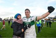 11 November 2018; Kieran Lillis of Portlaoise celebrates with his mother Mary following his side's victory in the AIB Leinster GAA Football Senior Club Championship quarter-final match between Moorefield and Portlaoise at St Conleth's Park in Newbridge, Co. Kildare. Photo by David Fitzgerald/Sportsfile