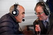 11 November 2018; Incoming Roscommon football manager Anthony Cunningham is interviewed by RTÉ's Brian Carthy during the AIB Connacht GAA Football Senior Club Championship semi-final match between Clann na nGael and Corofin at Dr. Hyde Park in Roscommon. Photo by Ramsey Cardy/Sportsfile