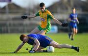 11 November 2018; Graham Pettit of Clann na nGael in action against Dylan Canney of Corofin during the AIB Connacht GAA Football Senior Club Championship semi-final match between Clann na nGael and Corofin at Dr. Hyde Park in Roscommon. Photo by Ramsey Cardy/Sportsfile