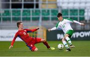 11 November 2018; Thomas Considine of Republic of Ireland in action against Jakub Kopacek of Czech Republic during the U17 International Friendly match between Republic of Ireland and Czech Republic at Tallaght Stadium in Tallaght, Dublin. Photo by Seb Daly/Sportsfile