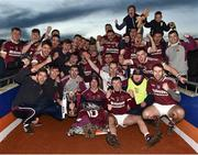 11 November 2018; Cushendall Ruairi Óg players celebrate with the Four Seasons cup and their injured team-mate Aaron Graffin following the AIB Ulster GAA Hurling Senior Club Hurling Final match between Ballycran and Cushendall Ruairi Óg at Athletic Grounds in Armagh. Photo by Oliver McVeigh/Sportsfile