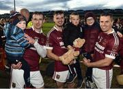 11 November 2018; Eunan McKillop of Cushendall Ruairi Óg and his son Eunan, team-mates Alex Delargy and brother Sean with Sean's two sons Conor and Rory celebrate after the AIB Ulster GAA Hurling Senior Club Hurling Final match between Ballycran and Cushendall Ruairi Óg at Athletic Grounds in Armagh. Photo by Oliver McVeigh/Sportsfile