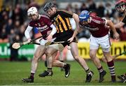 11 November 2018; Patrick Hughes of Ballycran in action against Eunan McKillop, left, and Paddy McGill of Cushendall Ruairi Óg during the AIB Ulster GAA Hurling Senior Club Hurling Final match between Ballycran and Cushendall Ruairi Óg at Athletic Grounds in Armagh. Photo by Oliver McVeigh/Sportsfile