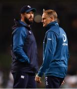 10 November 2018; Ireland defence coach Andy Farrell, left, and head coach Joe Schmidt ahead of the Guinness Series International match between Ireland and Argentina at the Aviva Stadium in Dublin. Photo by Ramsey Cardy/Sportsfile
